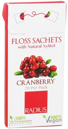 DROPPED: Radius - Floss Sachets with Natural Xylitol Cranberry - 20 Pack CLEARANCE PRICED