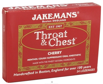 DROPPED: Jakemans - Throat & Chest Menthol Cough Suppressant Lozenges Cherry - 24 Lozenges CLEARANCE PRICED