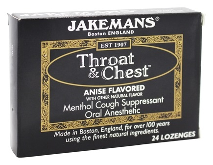 DROPPED: Jakemans - Throat & Chest Menthol Cough Suppressant Lozenges Anise - 24 Lozenges CLEARANCE PRICED