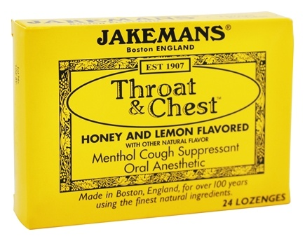 DROPPED: Jakemans - Throat & Chest Menthol Cough Suppressant Lozenges Honey and Lemon - 24 Lozenges CLEARANCE PRICED