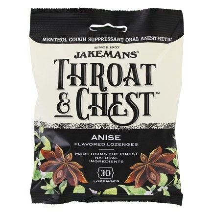 Jakemans - Throat & Chest Menthol Cough Suppressant Lozenges Anise - 30 Lozenges