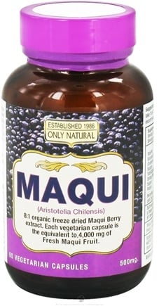 DROPPED: Only Natural - Maqui 500 mg. - 60 Vegetarian Capsules CLEARANCE PRICED