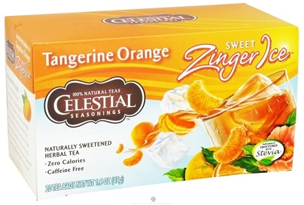 DROPPED: Celestial Seasonings - Sweet Zinger Ice Herbal Tea Caffeine Free Tangerine Orange - 20 Tea Bags