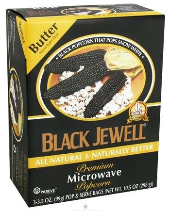 DROPPED: Black Jewell - All Natural Microwave Popcorn 3 Bags Butter Flavor - 10.5 oz. CLEARANCE PRICED