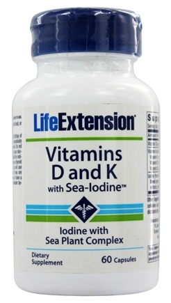 Life Extension - Vitamins D and K with Sea Iodine - 60 Capsules