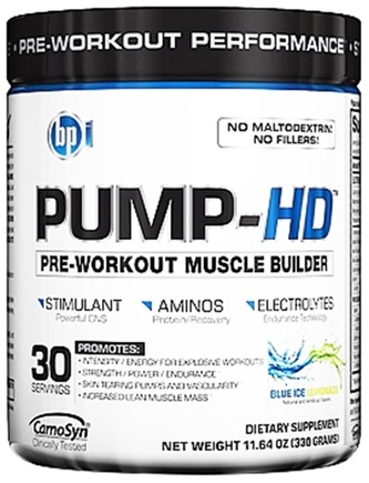DROPPED: BPI Sports - Pump-HD Pre-Workout Muscle Builder Blue Ice Lemonade 30 Servings - 11.64 oz.