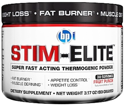 DROPPED: BPI Sports - Stim-Elite Super Fast Acting Thermogenic Powder Fruit Punch - 30 Servings - 3.17 oz.