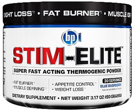 DROPPED: BPI Sports - Stim-Elite Super Fast Acting Thermogenic Powder Blue Raspberry - 30 Servings - 3.17 oz.