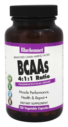 Bluebonnet Nutrition - BCAAs 4:1:1 Ratio Pharmaceutical-Grade - 120 Vegetable Capsule(s)