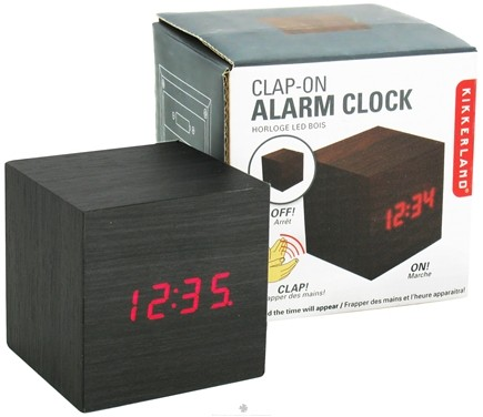 DROPPED: Kikkerland - Alarm Clock Clap On Cube Dark Wood - CLEARANCE PRICED