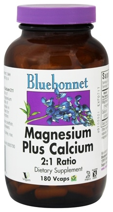 Bluebonnet Nutrition - Magnesium plus Calcium 2:1 Ratio - 180 Vegetarian Capsules