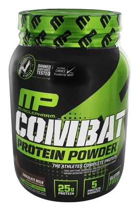 DROPPED: Muscle Pharm - Combat Advanced Time Release Protein Powder Chocolate Milk - 2 lbs.