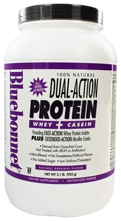 Bluebonnet Nutrition - Dual-Action Protein Whey + Casein Natural Original Flavor - 2.1 lbs.