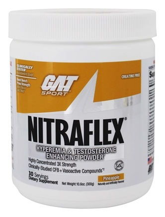 DROPPED: GAT - Nitraflex Hyperemia & Testosterone Enhancing PWD Pineapple 30 Servings - 300 Grams Formerly German American Technologies