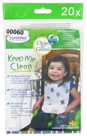 DROPPED: Summer Infant - Keep Me Clean Disposable Bibs 6 Months + - 20 Count CLEARANCE PRICED