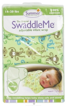 DROPPED: Summer Infant - The Original SwaddleMe Adjustable Infant Wrap Large 14-20 Pounds Monkey Fun - CLEARANCE PRICED