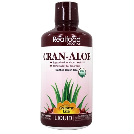 DROPPED: Country Life - Real Food Organics Liquid Cran-Aloe - 32 oz. CLEARANCE PRICED