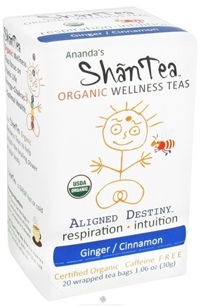 DROPPED: Ananda's Shantea - Organic Wellness Teas Aligned Destiny Ginger/Cinnamon Caffeine Free - 20 Tea Bags CLEARANCE PRICED