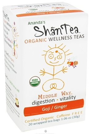 DROPPED: Ananda's Shantea - Organic Wellness Teas Middle Way Goji/Ginger Caffeine Free - 20 Tea Bags CLEARANCE PRICED