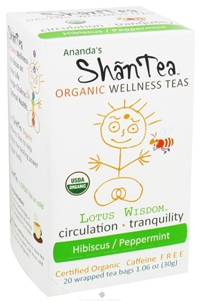 DROPPED: Ananda's Shantea - Organic Wellness Teas Lotus Wisdom Hibiscus/Peppermint Caffeine Free - 20 Tea Bags CLEARANCE PRICED