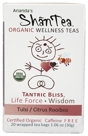 DROPPED: Ananda's Shantea - Organic Wellness Teas Tantric Bliss Tulsi/Citrus Rooibos Caffeine Free - 20 Tea Bags CLEARANCE PRICED
