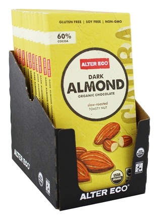 Alter Eco - Organic Chocolate Dark Almond 60% Cocoa - 2.82 oz.