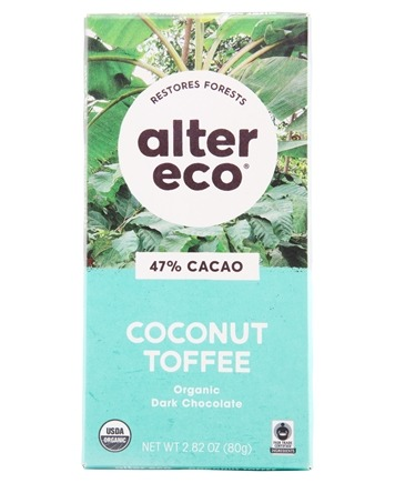 Alter Eco - Organic Chocolate Dark Coconut Toffee 47% Cocoa - 2.82 oz.