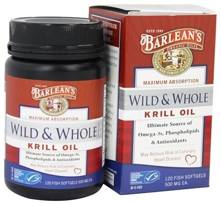 Barlean's - Wild and Whole Krill Oil 500 mg. - 120 Fish Softgel(s)