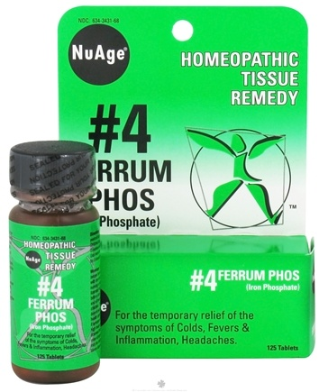 DROPPED: NuAge - #4 Ferrum Phosphoricum Homeopathic Tissue Remedy - 125 Tablets CLEARANCE PRICED