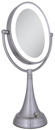 Zadro - LED Lighted Oval Vanity Mirror LEDOVLV410 Satin Nickel