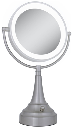 DROPPED: Zadro - LED Lighted Round Vanity Mirror LEDSV410 Satin Nickel