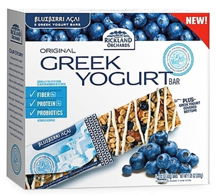 DROPPED: Rickland Orchards - All Natural Greek Yogurt Coated Bar Blueberry Acai - 5 Bars CLEARANCE PRICED