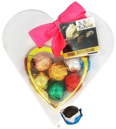 DROPPED: The Tea Room - Tea-Infused Organic Truffles in Clear & Frosted Heart Box - 8 Piece(s)