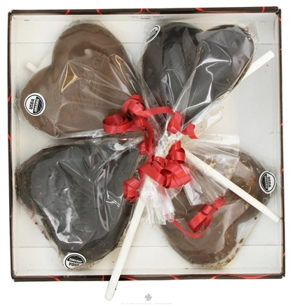 DROPPED: The Tea Room - Chocolate Heart Lollipop in Heart Box 2 Raspberry & 2 Caramel - 4 Piece(s)