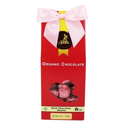 DROPPED: Sjaak's Organic Chocolate - Dark Hearts Tote 12 Dark Chocolate Solid Hearts - 6 oz.