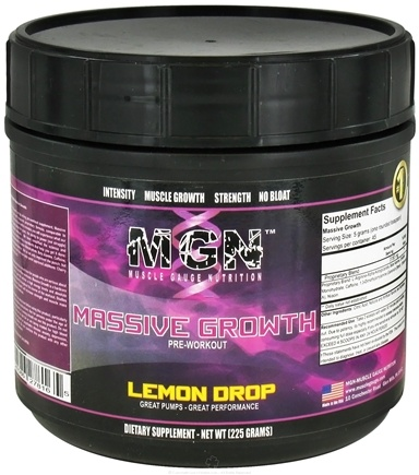 DROPPED: Muscle Gauge Nutrition - Massive Growth Pre-Workout Lemon Drop - 225 Grams