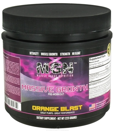 DROPPED: Muscle Gauge Nutrition - Massive Growth Pre-Workout Orange Blast - 225 Grams