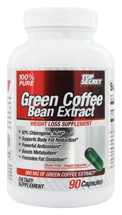 Top Secret Nutrition - Green Coffee Bean Extract 100% Pure Weight Loss Supplement 800 mg. - 90 Capsules