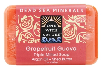 One With Nature - Dead Sea Minerals Triple Milled Bar Soap Grapefruit Guava - 7 oz.