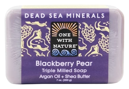 One With Nature - Dead Sea Minerals Triple Milled Bar Soap Blackberry Pear - 7 oz.