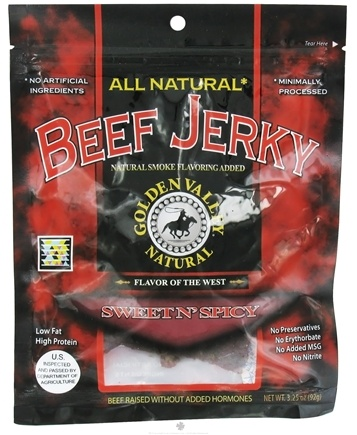 DROPPED: Golden Valley Natural - Natural Beef Jerky with Naturally Smoked Flavoring Sweet N' Spicy - 3.25 oz. CLEARANCE PRICED