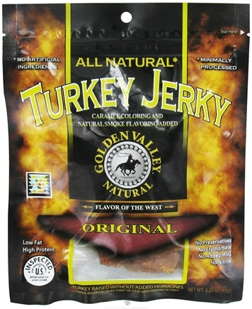 DROPPED: Golden Valley Natural - Natural Turkey Jerky with Naturally Smoked Flavoring Original - 3.25 oz. CLEARANCE PRICED