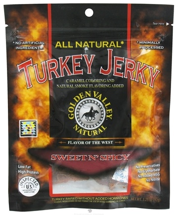 DROPPED: Golden Valley Natural - Natural Turkey Jerky with Naturally Smoked Flavoring Sweet N' Spicy - 3.25 oz.