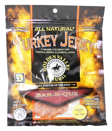 DROPPED: Golden Valley Natural - Natural Turkey Jerky with Naturally Smoked Flavoring Bar-B-Que - 3.25 oz.