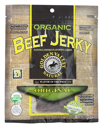 DROPPED: Golden Valley Natural - Organic Beef Jerky with Naturally Smoked Flavoring Original - 3 oz. CLEARANCE PRICED