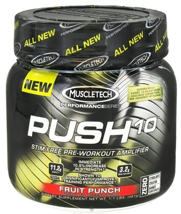 DROPPED: Muscletech Products - Push10 Performance Series Stim-Free Pre-Workout Amplifier Fruit Punch - 1.1 lbs.