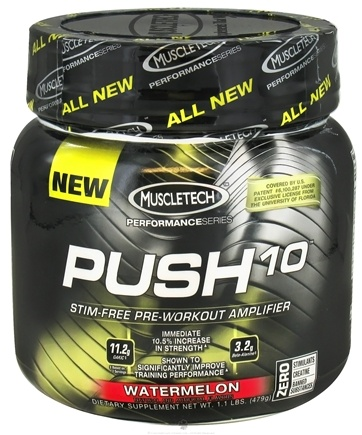 DROPPED: Muscletech Products - Push10 Performance Series Stim-Free Pre-Workout Amplifier Watermelon - 1.1 lbs.