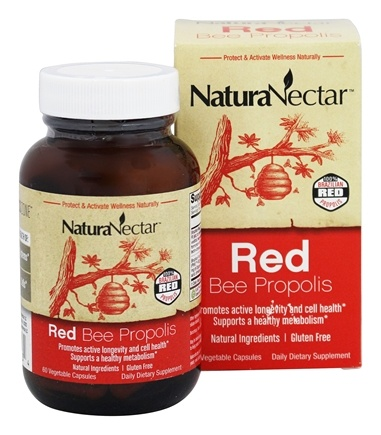 NaturaNectar - All Natural Red Bee Propolis - 60 Vegetarian Capsules