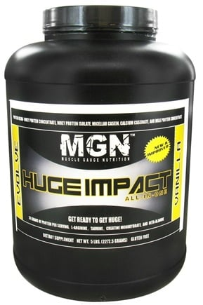 DROPPED: Muscle Gauge Nutrition - Huge Impact All-In-One Supplement Vanilla - 5 lbs.
