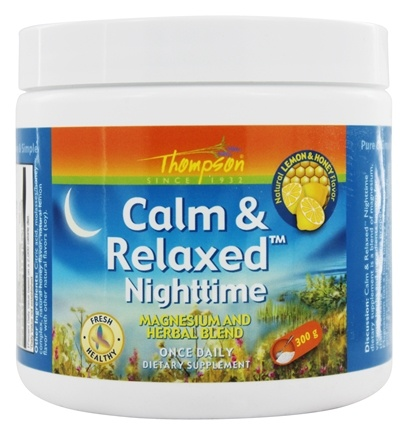 Thompson - Calm & Relaxed Nighttime Magnesium and Herbal Blend Lemon & Honey Flavor - 300 Grams